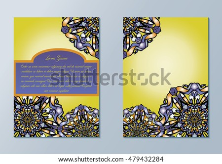 Violet and yellow brochures or invitations. Nice hand-drawn illustration