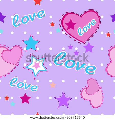 violet baby background with hearts and stars