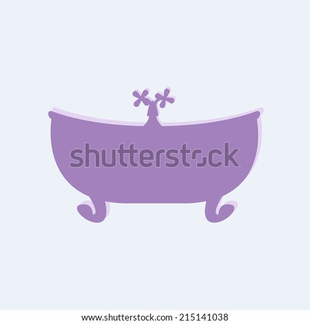 Violet bathtub with tap on lilac background. May be used as baby shower invitation - stock vector