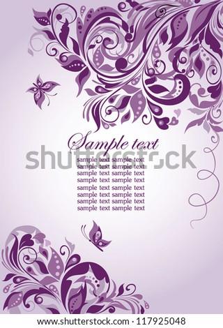 Violet floral banner - stock vector