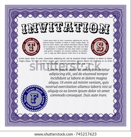 Violet formal invitation vector illustration complex stock vector violet formal invitation vector illustration with complex linear background modern design stopboris Gallery