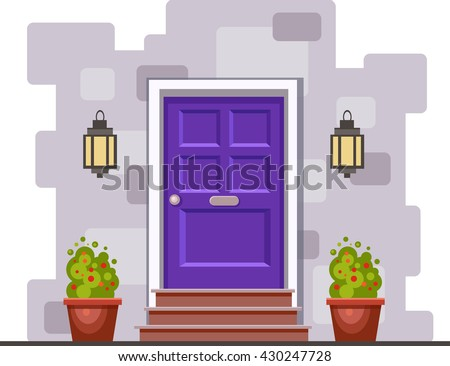 Violet front door on the gray brick wall with two pots with plants and lights. Vector building element. Cartoon house illustration - stock vector