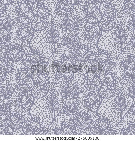 Violet gentle seamless floral lace pattern, vintage background - stock vector
