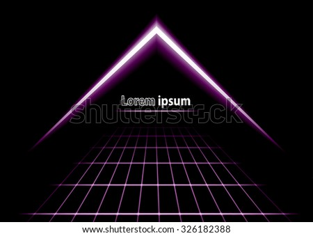 Violet glitter abstract futuristic perspective background with simple arrow logo. Vector illustration - stock vector