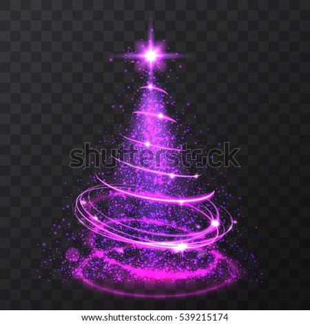 violet glitter bokeh lights and sparkle stars christmas tree on transparent background isolsted light shining - Purple Christmas Tree Lights