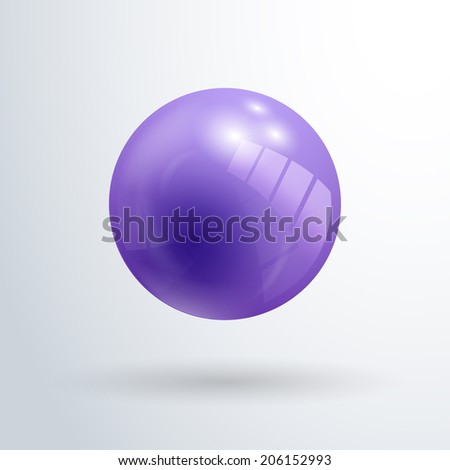 Violet glossy ball vector illustration isolated on white background