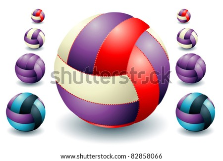 Violet isolated volleyballs - stock vector