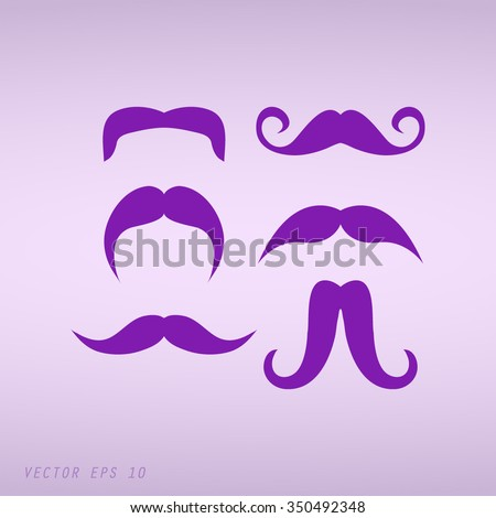 Violet Mustaches icons set  - stock vector