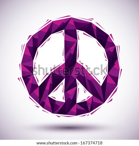 Violet peace geometric icon made in 3d modern style, best for use as symbol or design element. - stock vector
