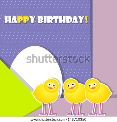violet postcard with chicks - stock vector
