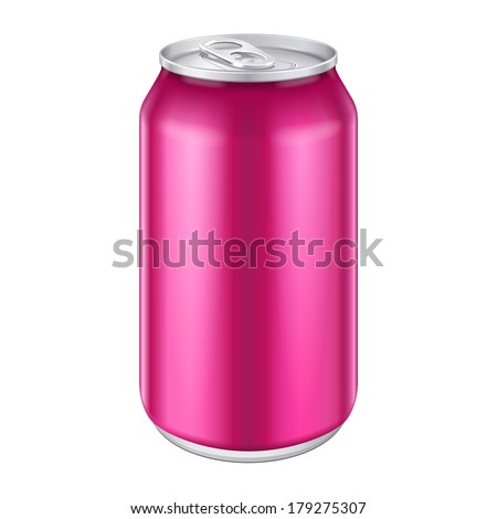 Violet Purple Magenta Pink Metal Aluminum Beverage Drink Can 330ml, 500ml. Mockup Template Ready For Your Design. Isolated White Background. Product Packing. Vector EPS10 Product Packing Vector EPS10