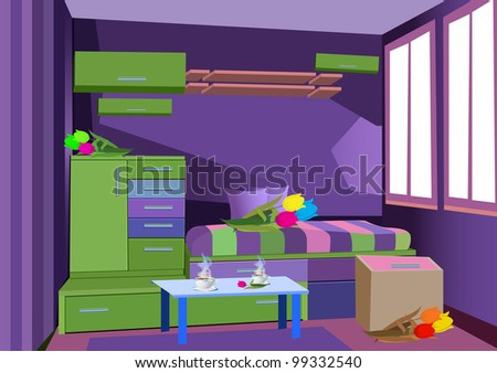 violet room - stock vector