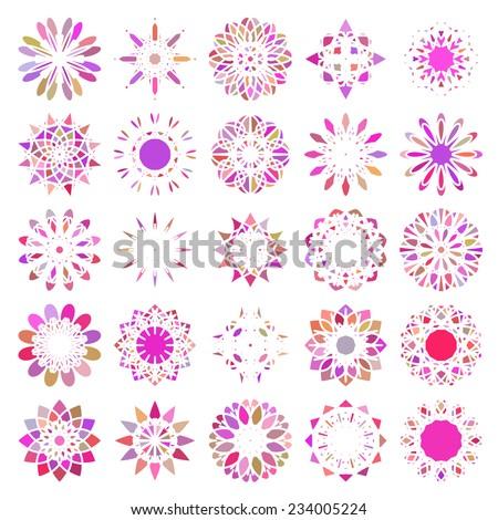 Violet round east ornament set. Vector symbols - stock vector