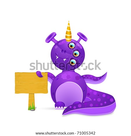 violet smiley monster with empty wooden sign. vector illustration isolated on white background - stock vector