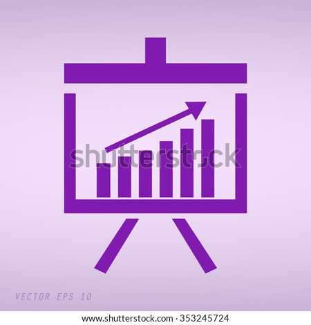 Violet Vector Business Growing Chart Presentation Icon