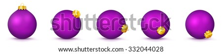 Violet Vector Christmas Balls Collection - Panorama Bauble Set - X-Mas Decorations - Each Ball is in Extra Vector Layer, Cleanly Separated - Christmas Tree Decor. - stock vector
