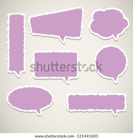 Violet vector speech bubbles with realistic shading and shadows.