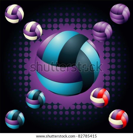 Violet volleyballs on the halftone background - stock vector