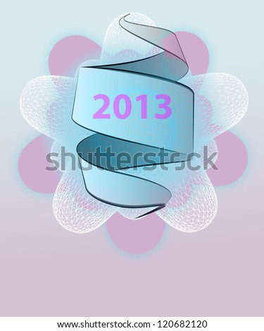 violet winter rounded star shape with ribbon vector new year template - stock vector