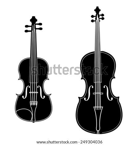Violin And Cello Black Silhouette Illustration