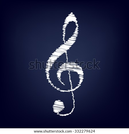 violin clef isolated on white background; music VECTOR  - stock vector