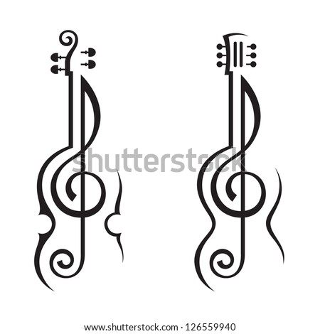 violin, guitar and treble clef - stock vector