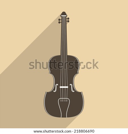 Violin icon with long shadow, flat design, vector eps10 illustration