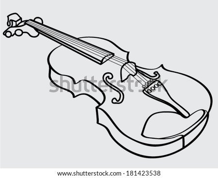 violin isolated outline - stock vector
