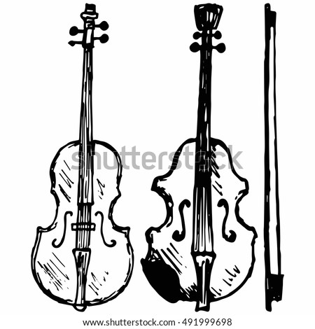 Violin, Musical string instrument. Isolated on white background. Vector, doodle style