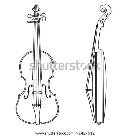 violin silhouette on white background, vector illustration - stock vector