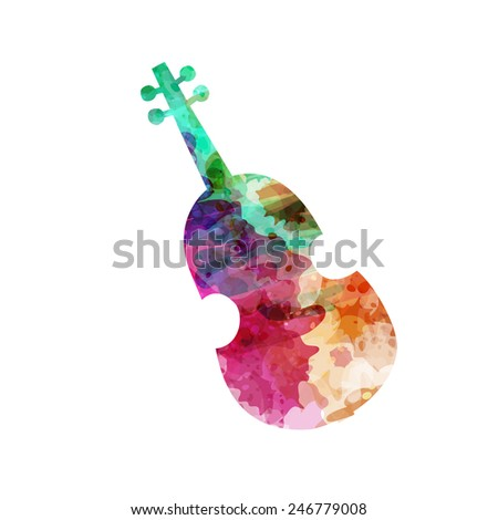 Violin silhouette. Watercolor hand drawn style, isolated color vector art illustration icon. - stock vector