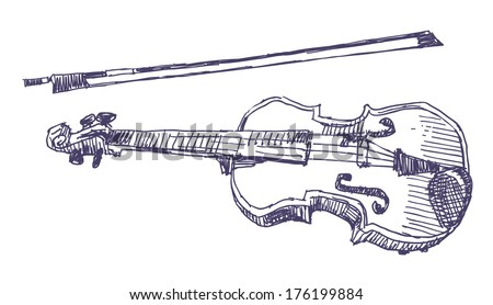 Violin sketch drawing isolated on white background