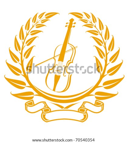 Violin symbol in laurel wreath isolated on white - also as emblem. Jpeg version also available - stock vector