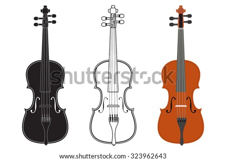 Violin Outline Wood Painting