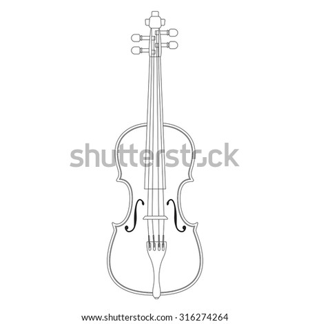 Violin. Vector isolated on white background.