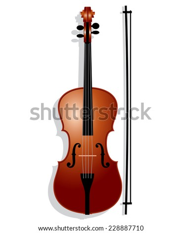 violin with bow - stock vector