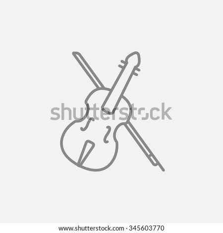Violin with bow line icon for web, mobile and infographics. Vector dark grey icon isolated on light grey background. - stock vector