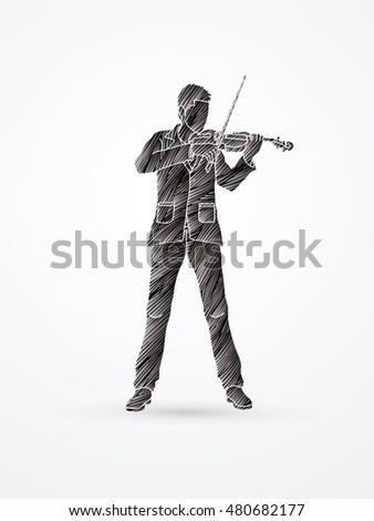 Violinist playing violin designed using black grunge brush graphic vector.