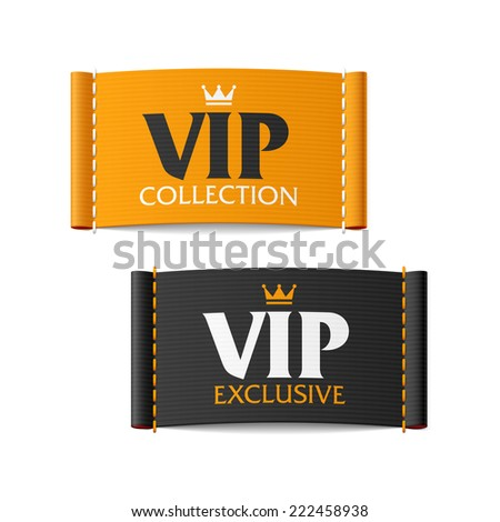 VIP collection and VIP exclusive labels. Vector. - stock vector