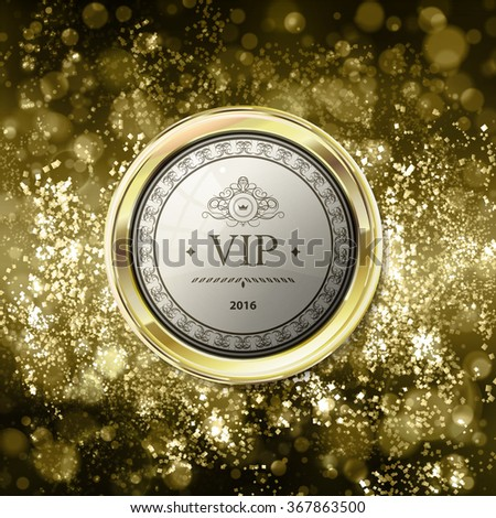 Vip emblem on abstract gold background with bokeh. Yellow and light brown blurred background with gold label. Vector illustration. Can be use for jewelry themes, fashion or holiday - stock vector