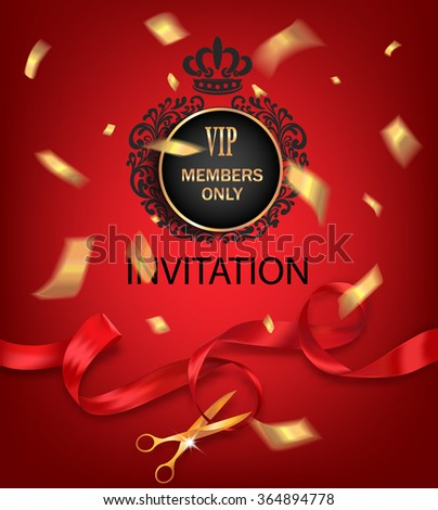 VIP invitation background with red ribbon and gold confetti - stock vector