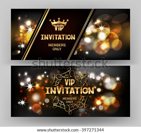 VIP invitation card with abstract sparkling background - stock vector