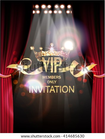 VIP invitation card with gold theater curtains and spot lights on the background - stock vector