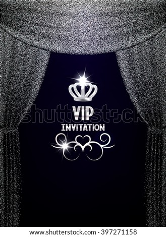 VIP invitation card with textured sparkling silver curtains - stock vector