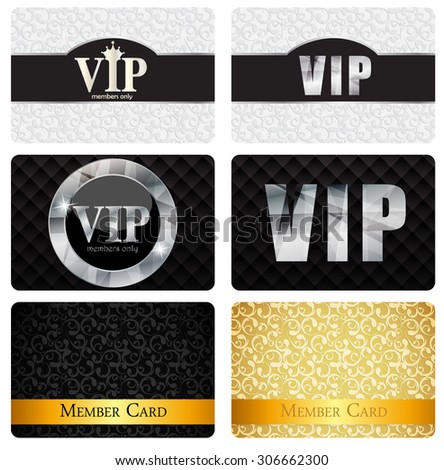 VIP Members Card Set Vector Illustration EPS10 - stock vector