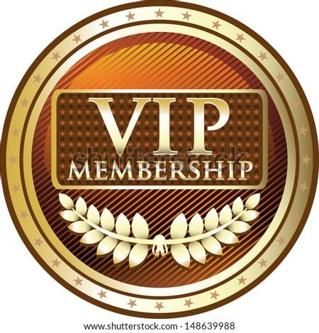 VIP Membership Gold Medal - stock vector