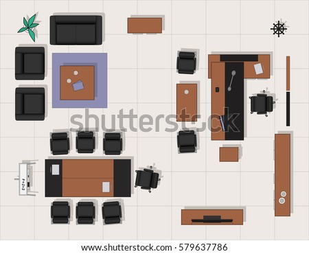 Vip Office Furniture Top View Stock Vector 579637786