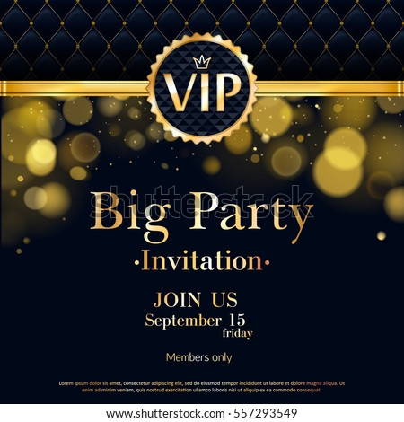 Vip party premium invitation card poster stock vector 557293549 vip party premium invitation card poster flyer black and golden design template quilted pattern spiritdancerdesigns Image collections