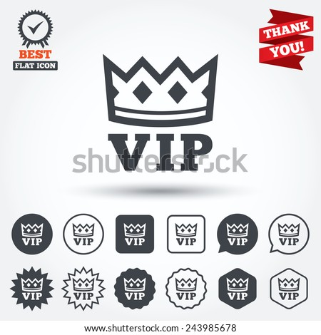 Vip sign icon. Membership symbol. Very important person. Circle, star, speech bubble and square buttons. Award medal with check mark. Thank you. Vector - stock vector