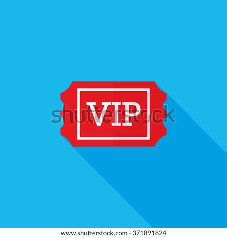 VIP Ticket Flat Long Shadow Icon - stock vector